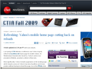 Refreshing: Yahoo's mobile home page cutting back on reloads | CTIA Fall show - CNET Reviews