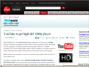 YouTube to get high-def 1080p player | Webware - CNET