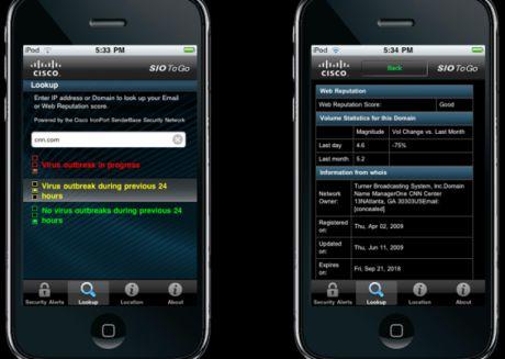 iPhoneアプリケーション「Cisco SIO To Go」は特定のウェブサイトの安全性に関する情報を提供する。