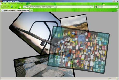 Mozillaは、透過させることやクリック&ドラッグによるサイズ変更が可能な写真およびScalable Vector Graphics(SVG)を使ったこのデモで、Direct2Dに比べ2倍以上の速さを示した。