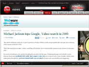 Michael Jackson tops Google, Yahoo search in 2009 | Webware - CNET