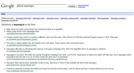 通常のGoogle検索でも、「define:」演算子を使うと、他のサイトにある定義へのリンクは表示される。