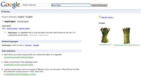 Googleの辞書は定義や発音、同義語、画像などを提供する。