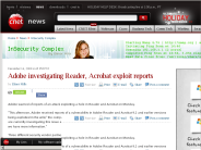 Adobe investigating Reader, Acrobat exploit reports | InSecurity Complex - CNET News
