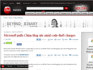 Microsoft pulls China blog site amid code-theft charges | Beyond Binary - CNET News