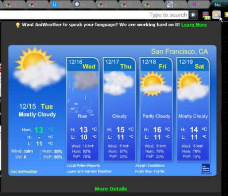 「AniWeather」では、天気予報をアニメーション表示するポップアップが提供される。