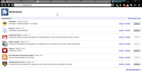 Google Chromeの拡張マネージャ。