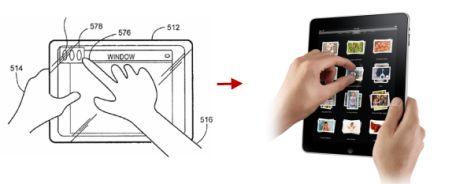 以前からあるAppleのタブレット特許と、27日に発表されたタブレット。
