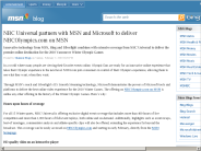 NBC Universal partners with MSN and Microsoft to deliver NBCOlympics.com on MSN
