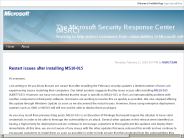 The Microsoft Security Response Center (MSRC) : Restart issues after installing MS10-015