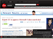 Report: EU to approve Microsoft-Yahoo search deal | Relevant Results - CNET News